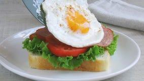 Το αυγό τηγανητών σαλαμιού ντοματών σαλάτας σάντουιτς φρυγανιάς βάζει outt φιλμ μικρού μήκους