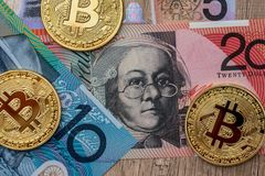 Το αυστραλιανό δολάριο και bitcoin χρηματοδοτεί Στοκ Φωτογραφίες