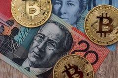 Το αυστραλιανό δολάριο και bitcoin χρηματοδοτεί Στοκ εικόνες με δικαίωμα ελεύθερης χρήσης