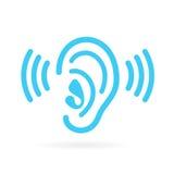 Το αυτί ακούει διανυσματικό εικονίδιο απεικόνιση αποθεμάτων