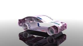 Το αυτοκίνητο δημιουργείται από τα ευρο- τραπεζογραμμάτια, η έννοια της χρηματοδότησης της αυτοκινητοβιομηχανίας, που δανείζει στ διανυσματική απεικόνιση