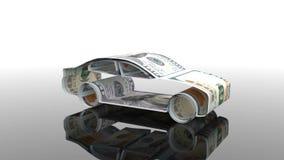 Το αυτοκίνητο δημιουργείται από τα χρήματα, η έννοια της χρηματοδότησης της αυτοκινητοβιομηχανίας, που δανείζει στην αγορά των αυ διανυσματική απεικόνιση