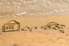 Το αυτοκίνητο είναι κοντά στο σπίτι που επισύρεται την προσοχή με το χέρι σε μια αμμώδη χρυσή παραλία θάλασσας έννοια του κινδύνο στοκ εικόνες