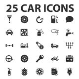 Το αυτοκίνητο, 25 μαύρα απλά εικονίδια που τίθενται επισκευάζει για τον Ιστό διανυσματική απεικόνιση