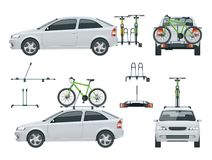 Το αυτοκίνητο μεταφέρει τα ποδήλατα στη στέγη και τα ποδήλατα που φορτώνονται στο πίσω μέρος ενός φορτηγού Πλάγια όψη και πίσω άπ Στοκ φωτογραφία με δικαίωμα ελεύθερης χρήσης