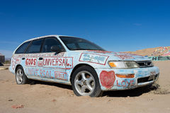 Το αυτοκίνητο με τα θρησκευτικά μηνύματα Στοκ Εικόνες