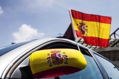 Το αυτοκίνητο με την Ισπανία σημαιοστολίζει την κινηματογράφηση σε πρώτο πλάνο Στοκ φωτογραφίες με δικαίωμα ελεύθερης χρήσης
