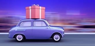 το αυτοκίνητο που φέρνει ένα κόκκινο δώρο τρισδιάστατο δίνει την τρισδιάστατη απεικόνιση Στοκ Εικόνες