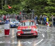 Το αυτοκίνητο της ομάδας λότο-Belisol - περιοδεύστε το de Γαλλία το 2014 Στοκ Φωτογραφίες