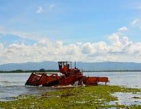 Το αυτόματο καθαρίζοντας σκάφος αφαιρεί το hyacin νερού Στοκ εικόνα με δικαίωμα ελεύθερης χρήσης