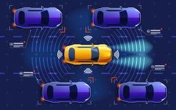 Το αυτόνομο ηλεκτρο έξυπνο αυτοκίνητο πηγαίνει στο δρόμο στην κυκλοφορία Ανιχνεύει το δρόμο, παρατηρεί την απόσταση Μελλοντική έν Στοκ φωτογραφία με δικαίωμα ελεύθερης χρήσης