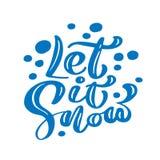Το αφήστε να χιονίσει μπλε εκλεκτής ποιότητας καλλιγραφία Χριστουγέννων γράφοντας το διανυσματικό κείμενο με το ντεκόρ χειμερινών ελεύθερη απεικόνιση δικαιώματος