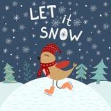 Το αφήστε να χιονίσει, πρότυπο καρτών με ένα χαριτωμένο πουλί Στοκ εικόνες με δικαίωμα ελεύθερης χρήσης