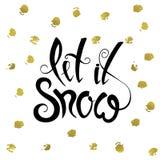 Το αφήστε να χιονίσει σχέδιο καλλιγραφίας Χριστουγέννων Στοκ Εικόνες