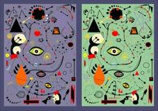 Το αφηρημένο άνευ ραφής υπόβαθρο σχεδίων, έθεσε 2 παραλλαγές χρώματος Στοκ Εικόνες