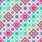 Το αφηρημένο γεωμετρικό άνευ ραφής floral σχέδιο ύφους προσθηκών υποβάθρου σχεδίων διανυσματικό με τα ζωηρόχρωμα τετράγωνα και το Στοκ Εικόνα