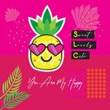 Το αφηρημένο ζωηρό χρώμα εσείς είναι ο ευτυχής τροπικός ανανάς μου με την κάρτα emoji γυαλιών ηλίου καρδιών ελεύθερη απεικόνιση δικαιώματος