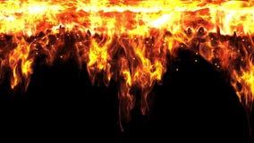 Το αφηρημένο κάψιμο τοίχων κουρτινών πυρκαγιάς από τον ουρανό με το σπινθήρα φλογών και την τέφρα που εμπίπτει στο Μαύρο απομόνωσ απεικόνιση αποθεμάτων