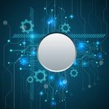 Το αφηρημένο μπλε τεχνολογικό υπόβαθρο με τεχνολογικό Στοκ εικόνες με δικαίωμα ελεύθερης χρήσης