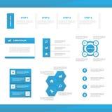 Το αφηρημένο μπλε infographic επίπεδο σχέδιο προτύπων παρουσίασης στοιχείων έθεσε για το μάρκετινγκ φυλλάδιων ιπτάμενων φυλλάδιων διανυσματική απεικόνιση