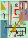 Το αφηρημένο πορτοκαλί υπόβαθρο, φαντάζεται τις γεωμετρικές και μορφές γραμμών, expressionism ύφος τέχνης Στοκ Φωτογραφίες