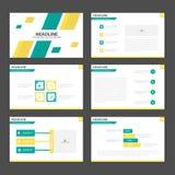 Το αφηρημένο πράσινο κίτρινο επίπεδο σχέδιο στοιχείων Infographic προτύπων παρουσίασης έθεσε για το μάρκετινγκ φυλλάδιων ιπτάμενω Στοκ Εικόνα