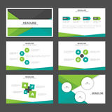 Το αφηρημένο πράσινο μαύρο επίπεδο σχέδιο στοιχείων Infographic προτύπων παρουσίασης έθεσε για το μάρκετινγκ φυλλάδιων ιπτάμενων  Στοκ φωτογραφίες με δικαίωμα ελεύθερης χρήσης