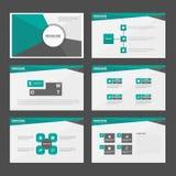 Το αφηρημένο πράσινο μαύρο επίπεδο σχέδιο στοιχείων Infographic προτύπων παρουσίασης έθεσε για το μάρκετινγκ φυλλάδιων ιπτάμενων  Στοκ Εικόνα