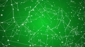 Το αφηρημένο πράσινο τηλεοπτικό κινούμενο υπόβαθρο μορίων πλεγμάτων με λάμπει στο υπόβαθρο ελεύθερη απεικόνιση δικαιώματος