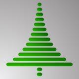 Το αφηρημένο πράσινο χριστουγεννιάτικο δέντρο αποτελείται από τα ορθογώνια με τις στρογγυλευμένες γωνίες στο γκρίζο υπόβαθρο κλίσ Στοκ Φωτογραφία