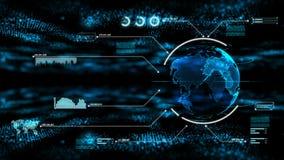 Το αφηρημένο σκοτεινό υπόβαθρο με το σφαιρικό φωτισμό κόσμων και σημείων για τη φουτουριστική έννοια τεχνολογίας cyber θολώνει κα διανυσματική απεικόνιση