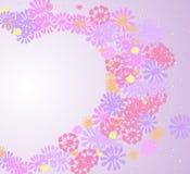 Το αφηρημένο σχέδιο καρδιών αγάπης που γίνονται από τα ρόδινα, πορφυρά, κίτρινα λουλούδια και οι πτώσεις ενός διανύσματος απομονώ Στοκ εικόνες με δικαίωμα ελεύθερης χρήσης