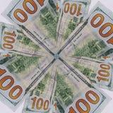 το αφηρημένο σχέδιο με το δολάριο 100 τιμολογεί την αντίστροφη πλευρά, το υπόβαθρο και τη σύσταση Στοκ εικόνα με δικαίωμα ελεύθερης χρήσης