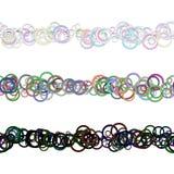 Το αφηρημένο σχέδιο γραμμών διαιρετών κειμένων σχεδίων κύκλων έθεσε από τα χρωματισμένα δαχτυλίδια - επαναλαμβανόμενα διανυσματικ Στοκ Εικόνα