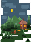 Το αφηρημένο σχέδιο τοπίων με τα πράσινα δέντρα και τα σύννεφα, ένα σπίτι στο δάσος και η πυρκαγιά τοποθετούν τη νύχτα, επίπεδο ύ Στοκ φωτογραφία με δικαίωμα ελεύθερης χρήσης