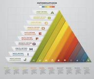 Το αφηρημένο σχεδιάγραμμα μορφής πυραμίδων με 10 βήματα καθαρίζει το πρότυπο εμβλημάτων αριθμού Στοκ Φωτογραφία