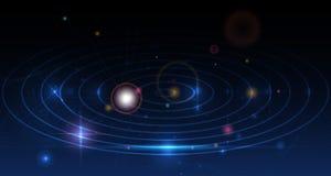 Το αφηρημένο υπόβαθρο γαλαξιών απεικόνισης με τις γραμμές πλέγματος και φωτεινός ακτινοβολεί Στοκ Εικόνες