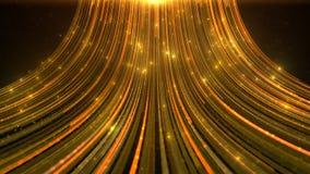 Το αφηρημένο υπόβαθρο γοητείας ακτινοβολεί χρυσά μόρια και ρεύματα Στοκ εικόνες με δικαίωμα ελεύθερης χρήσης
