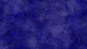 Το αφηρημένο υπόβαθρο ζωτικότητας των τριγώνων που κινούνται, στρέφεται και θολώνει στους σκούρο μπλε τόνους Γίνοντας μέσα μετά α διανυσματική απεικόνιση