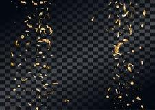 Το αφηρημένο υπόβαθρο με το πέταγμα στον αέρα διασκόρπισε το χρυσό κομφετί Στοκ Φωτογραφίες