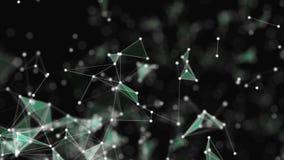 Το αφηρημένο υπόβαθρο, πλήρες των άσπρων σημείων, που συνδέονται με ελαφρώς τις Πράσινες Γραμμές, στο Μαύρο το μαύρο σκηνικό απεικόνιση αποθεμάτων