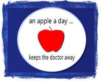 Το αφηρημένο υπόβαθρο της Apple σε ένα πιάτο με τη φράση η Apple Α ημέρα κρατά το γιατρό μακριά Στοκ Εικόνες