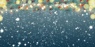 Το αφηρημένο υπόβαθρο Χριστουγέννων με τις ελαφριές γιρλάντες, έλατο διακλαδίζεται, snowflakes και θέση για το κείμενο Εορταστικό απεικόνιση αποθεμάτων