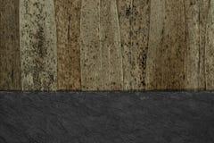Το αφηρημένο υπόβαθρο χώρισε στο μισό των καφετιών ξηρών φύλλων καλάμων με τα μαύρα σημεία και το μαύρο υπόβαθρο πετρών στοκ φωτογραφία με δικαίωμα ελεύθερης χρήσης