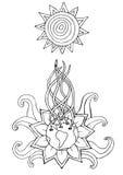 Το αφηρημένο φυτό αυξάνεται προς τον ήλιο Περιγραμματικό συρμένο χέρι Doodle Στοκ Εικόνες