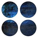 Το αφηρημένο χέρι χρωμάτισε την ακρυλική σύσταση κύκλων στα μπλε και μαύρα χρώματα Στοκ εικόνα με δικαίωμα ελεύθερης χρήσης