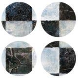 Το αφηρημένο χέρι χρωμάτισε την ακρυλική σύσταση κύκλων στο άσπρο και μαύρο χρώμα Στοκ Φωτογραφία