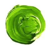 Το αφηρημένο χέρι χρωμάτισε την ακρυλική σύσταση κύκλων στο πράσινο χρώμα Στοκ εικόνα με δικαίωμα ελεύθερης χρήσης