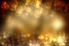 Το αφηρημένο χρυσό εορταστικό υπόβαθρο bokeh με ακτινοβολεί BL σπινθηρίσματος στοκ εικόνες
