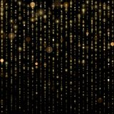 Το αφηρημένο χρυσό σπινθήρισμα λάμπει ελαφρύ κομφετί bokeh στο ακτινοβολώντας μαύρο υπόβαθρο Shimmer πολυτέλειας πρότυπο σύστασης διανυσματική απεικόνιση